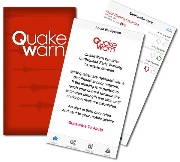 QuakeWarn iOS Application Mockup